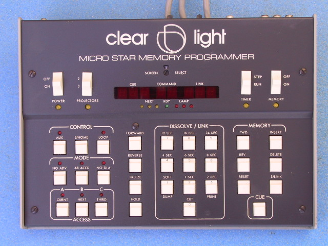 Clearlight Micro Star Memory Programmer 3 Dissolve Unit - KX Camera Kodak Slide projectors since 1980 1732-1/2 Grand Ave. Santa Barbara, CA 93103 805-963-5625