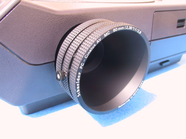 Schneider 60mm/2.8 PC Cinelux AV Projection Lens - KX Camera Kodak Slide Projectors Since 1980 - 1732-1/2 Grand Ave. Santa Barbara, CA 93103 805-963-5625