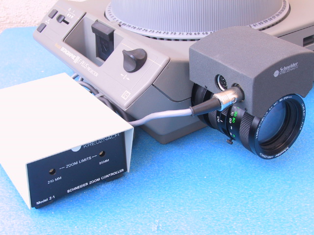 Schneider 85-210 mm / 3.9 Vario Cinelux Motorized Zoom Lens Z-1 Z1 Power Control Controller - KX Camera Kodak Slide Projectors Since 1980 - 1732-1/2 Grand Ave. Santa Barbara, CA 93103 805-963-5625